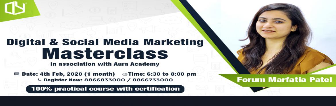 Book Online Tickets for Digital / Social Media Marketing Master , Surat. Learn Digital Marketing with 100% practical session by industrial expertsWhat will you learn?Fundamental of MarketingSocial Media Marketing (Facebook, Instagram & Youtube)Paid Campaigns (SEM)Google My BusinessOn-Page & Off-page SEO (Theory)On