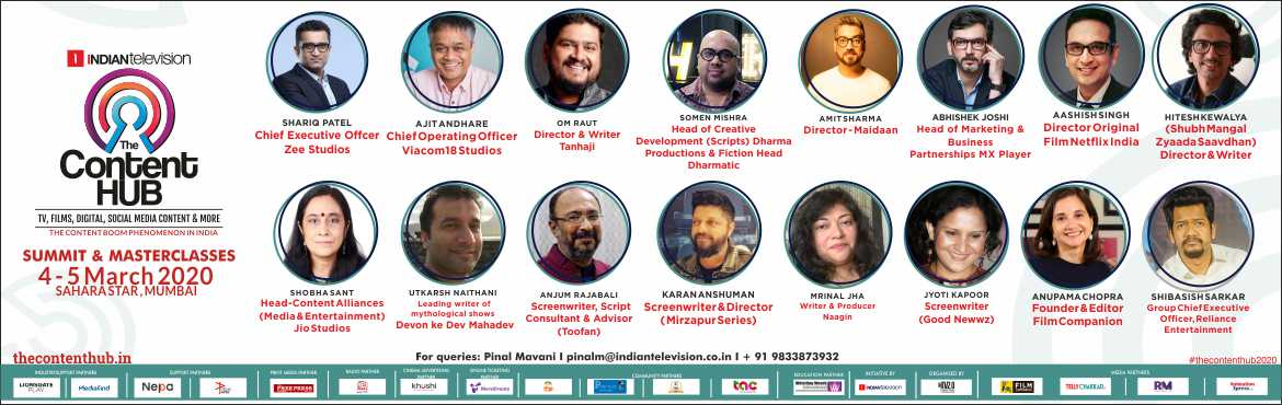 Book Online Tickets for The Content Hub, Mumbai. The Content Hub is organizing seminars, presentations, two-way interactions and masterclasses with the biggest producers, studios, content creators, and platforms involved in feature film, television and digital.  The stellar speakers and mentor