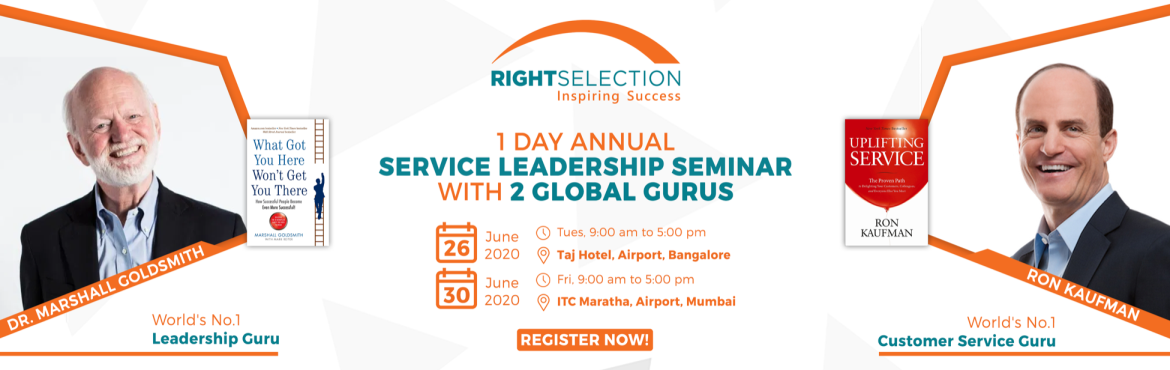 Book Online Tickets for 1 Day Service Leadership Seminar with Ma, Bengaluru. In this 1 Day Service Leadership Seminar- Learn from the World\'s #1 Leadership Thinker Dr. Marshall Goldsmith & World\'s #1 Customer Service Guru Ron Kaufman  Classic Challenges For Successful Leaders A Proven Model For Developing Yourself As A