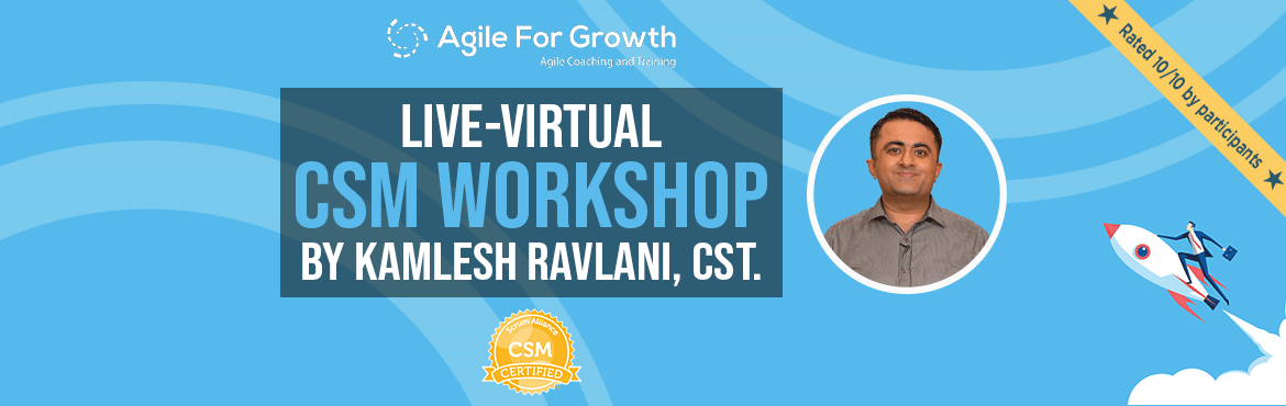 Book Online Tickets for Live Virtual CSM Workshop by Kamlesh Rav, Bengaluru. Highest Rated Virtual Workshop:ParticipantFeedback 1,Feedback 2from Kamlesh\'s recent interactive Virtual CSM Workshops.  Virtual Workshop:This workshop will be facilitated virtually via Zoom Video. You