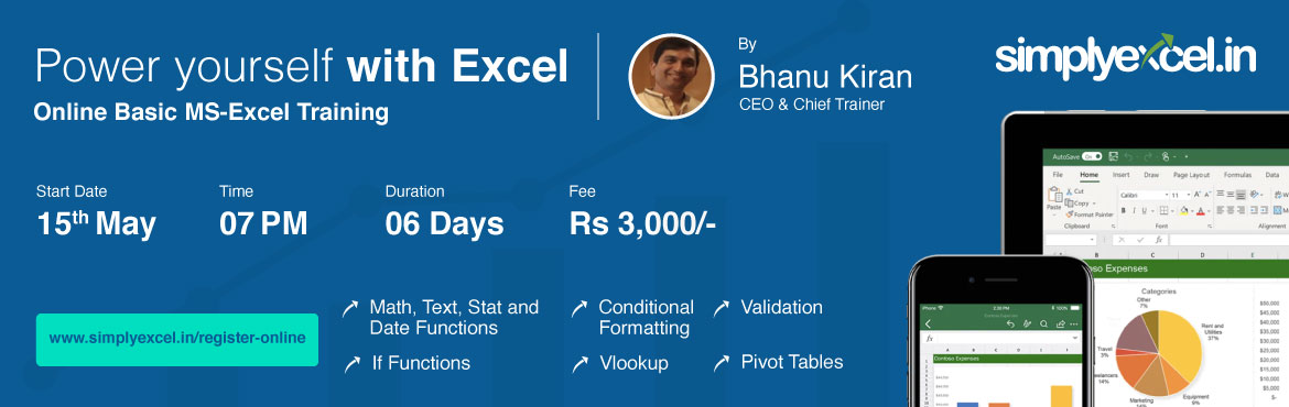 Book Online Tickets for Online Basic MS-Excel Training, Hyderabad. Excel is one of the most commonly used business applications with unlimited capabilities for making your job easier and less stressful. Our Online Basic MS-Excel Workshop is a structured and comprehensive learning program developed for Excel users wh