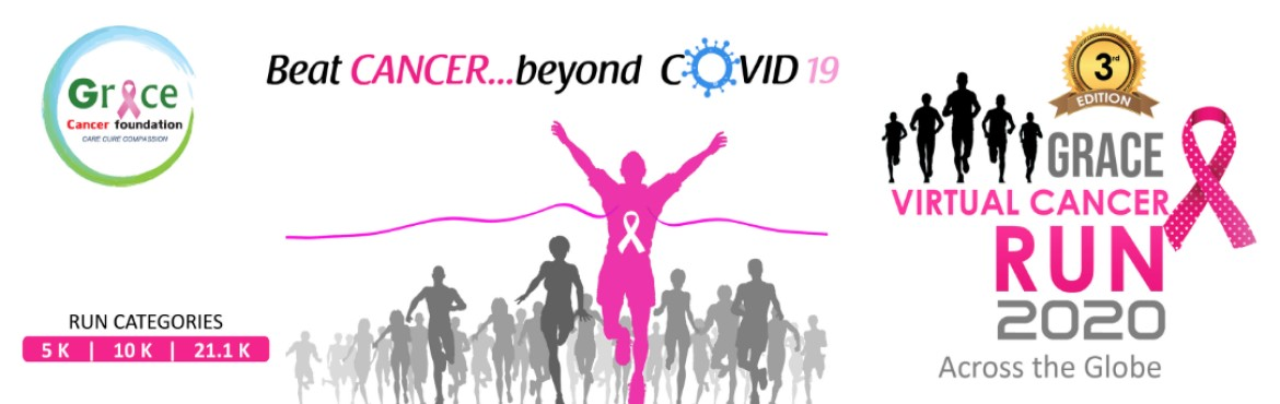 Book Online Tickets for Grace Virtual Cancer Run 2020, . Beat Cancer… Beyond COVID19 Grace Cancer Run Is back, and this time virtually. Although the world is undergoing with pandemic situations, it is also necessary not to ignore cancer at any cost. Can we neglect cancer awareness in this time of co