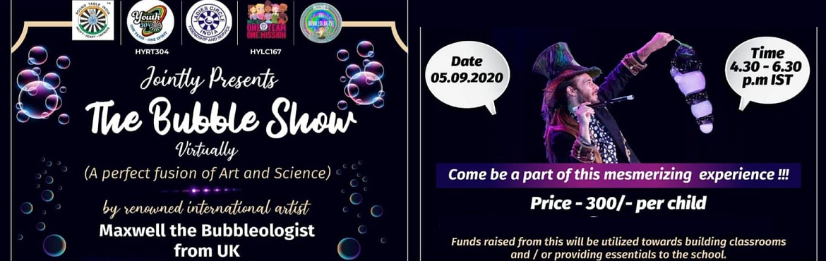 Book Online Tickets for MAXWELL BUBBLE SHOW  by GEMS THE ART OF , . Bubbles, a truly fascinating scientific phenomenon that evokes joy in everybody. The delightful memory of blowing and chasing bubbles on a cool summer day is etched in every child. Here\'s a chance for your child to relive this memory in the comfort