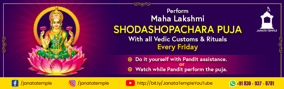 Book Online Tickets for Maha Lakshmi Shodashopachara Puja, . Lakshmi is both the wife and divine energy (shakti) of Vishnu, one of the principal deities of Hinduism and the Supreme Being in the Vaishnava tradition. She is often depicted with Saraswati and Parvati as forming the holy trinity (Tridevi). She is t