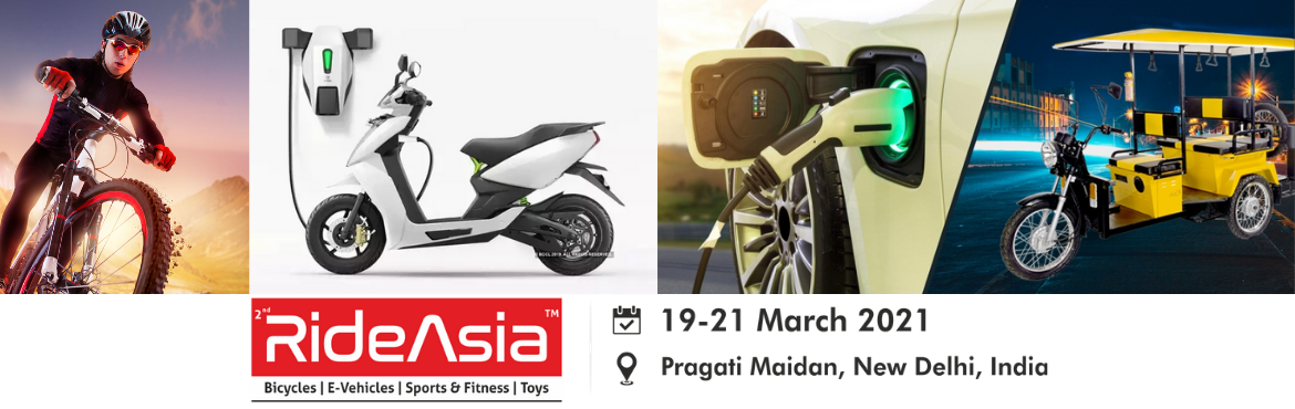 Book Online Tickets for RideAsia 2021 (Bicycle Exhibition in Ind, New Delhi. RideAsia 2021 Category – Bicycle, Electric-Vehicles, Sports Fitness & Ride-Ons Date : 19-20-21 March 2021 Location : Pragati Maidan, New Delhi Contact : 9592083322 (Mr Rakesh) Email Id - info@rideasia.in WEB : www.rideasia.in  ABOUT&n