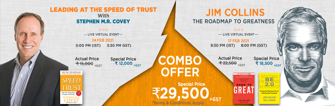 Book Online Tickets for Combo Offer- Jim Collins and Stephen M.R, . About Jim Collins Event: The Roadmap to Greatness- Wed, 17th Feb 2021, 9:30 PM IST  Right Selection & The Growth Faculty are proud to present one of the 100 Greatest Living Business Minds (Forbes) and best-selling author, Jim Collins, in a