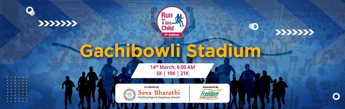 Book Online Tickets for Run for a Girl Child - Gachibowli, Hyderabad. Run for a Girl Child announces the annual fund raiser for the girls in slums. Amidst challenges in 2021 due to COVID19, 5th Edition of Run for a Girl Child will be held in Gachibowli stadium on 14th March 2021.