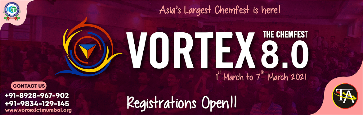 Book Online Tickets for ICT, Vortex 8.0, . VORTEX 8.0 Vortex is an annual chemical engineering and technology festival of Institute of Chemical Technology, ICT, Mumbai. It also refers to a student body that organizes this event along with many other social initiatives, drives and outreach pro