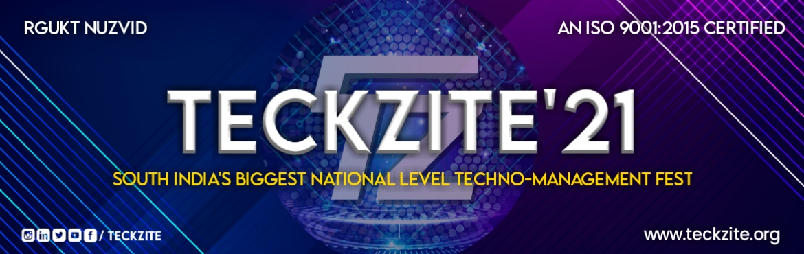 Book Online Tickets for Teckzite 2021, .  Teckzite, an annual National Level Techno-management fest celebrated and lionized by the student community of Rajiv Gandhi University of Knowledge Technologies, Nuzvid. Teckzite excites the students by all means and makes them awaited througho