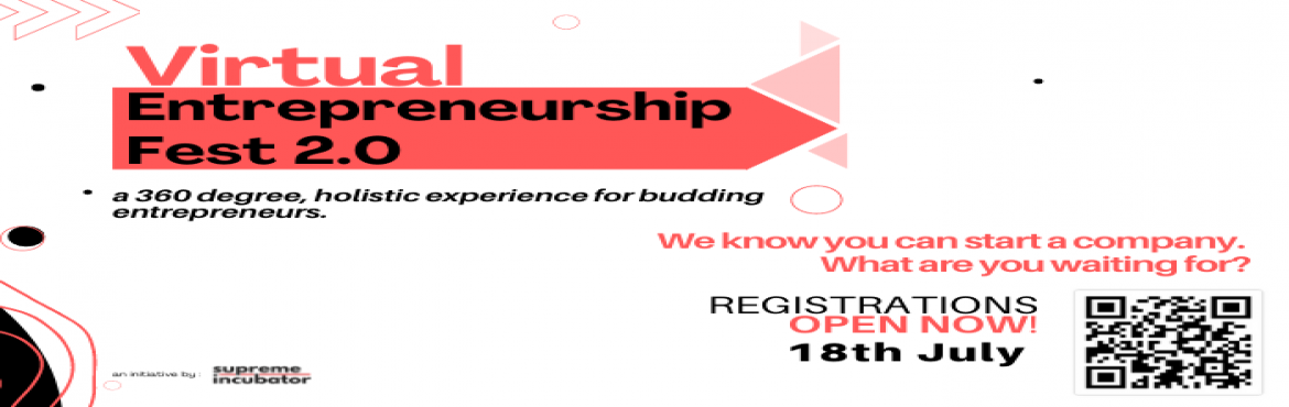 Book Online Tickets for Virtual Entrepreneurship Fest 2.0, .     Virtual Entrepreneurship Fest 2.0:Stages and Timelines     Bidding Wars Teams will be given a list of items and they need to bid for the item around which they will be structuring their business plan.  18 Jul\'21 09:00 AM IST&nb