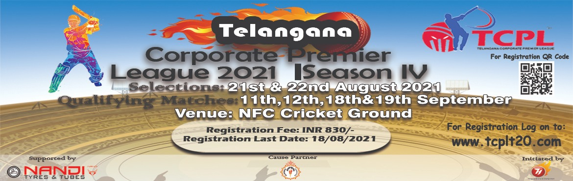 Book Online Tickets for Telangana Corporate Premier League Seaso, Hyderabad. Concept:Many people are not able to get into the job and are not able to leave their will and work with the job. The Telangana Corporate Premier League was set up on September 7, 2017, by Bharatiya Janata Party National Working Committee member Shri