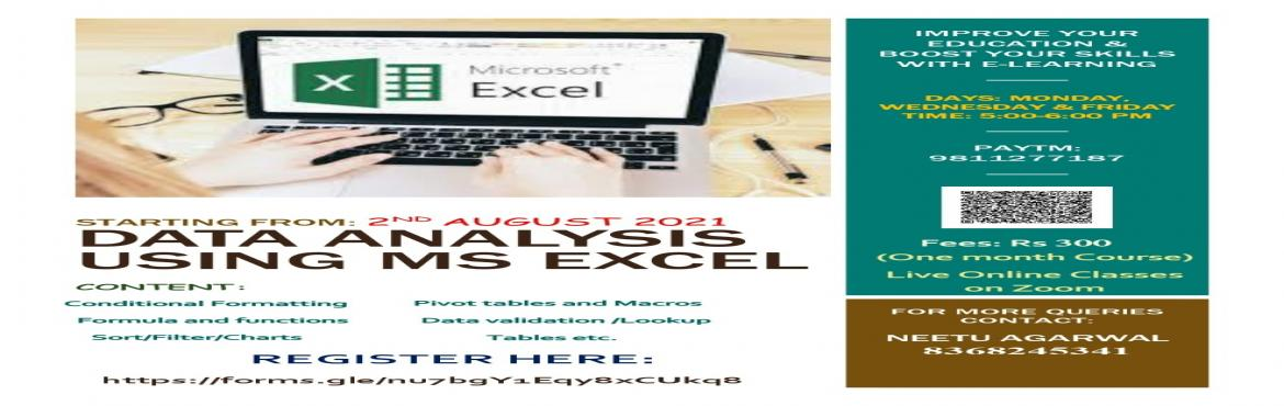 Book Online Tickets for Advanced Excel and Data Analysis Certifi, .   Dear All, It gives me immense pleasure to share with you that, I am again starting the\