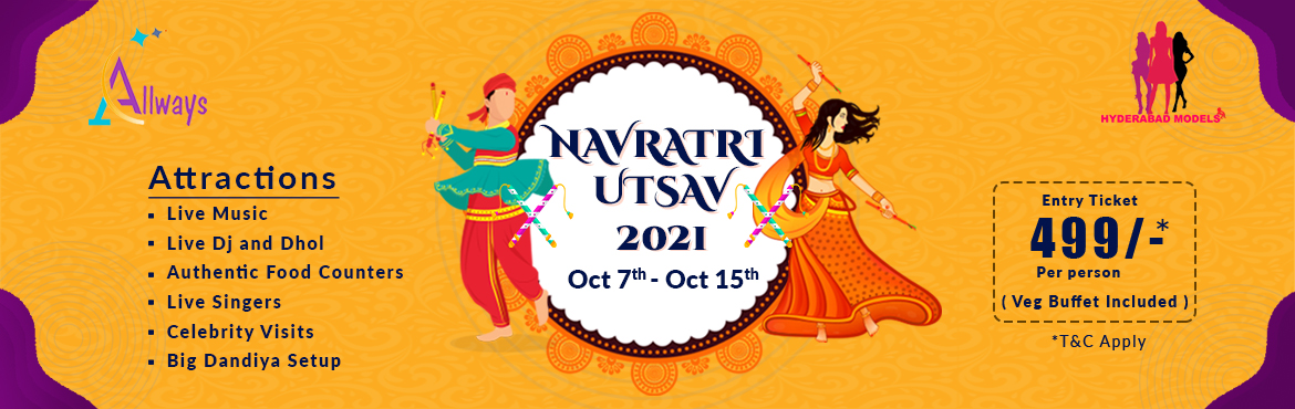 Book Online Tickets for Navratri Utsav 2021 at The Park, Hyderabad. Dandiyais a biggest dance event celebrating the Indian festival Event of Navratri. The beginning of winter is considered to be important junctions of climatic and solar influences in Indian culture.Dandiyaconsists of two dance style