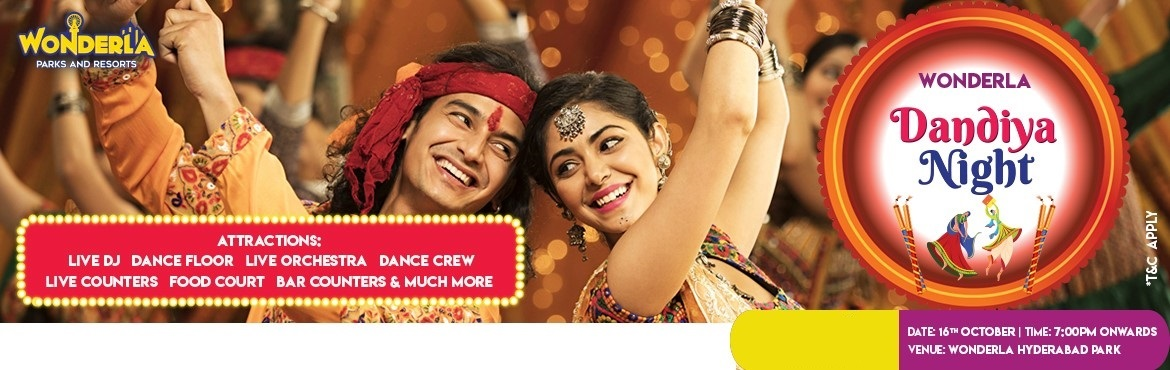 Book Online Tickets for Wonderla Dandiya Night 2021, Hyderabad. Wonderla Hyderabad park is coming up with a Dandiya Night on 16th october 2021. Get your passes now to experience a crazy weekend evening with dance moves and music from 7.00 p.m. You will get free dandiya sticks along with your entry ticket.&n