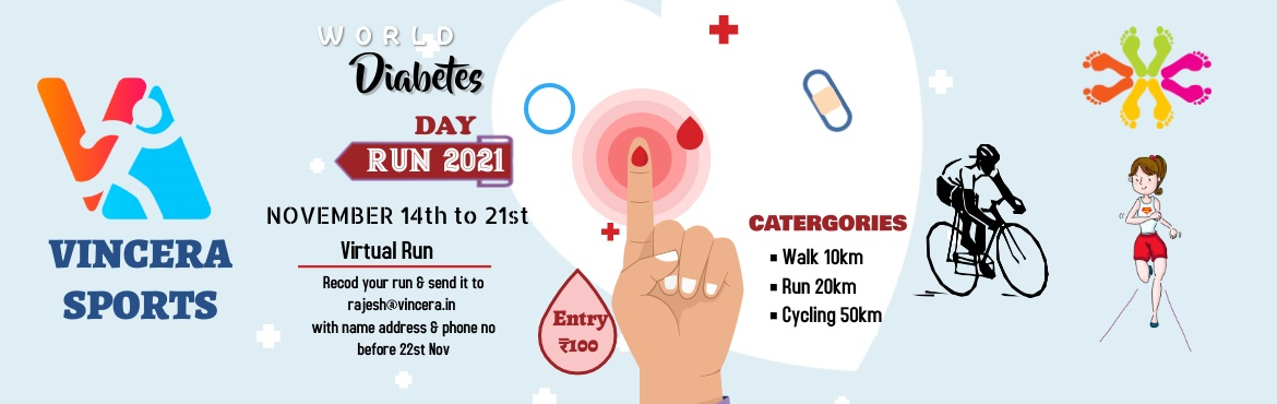 Book Online Tickets for WORLD DIABETES DAY RUN 2021, . World Diabetes Day (WDD)was created in 1991 by IDF and the World Health Organization in response to growing concerns about the escalating health threat posed by diabetes. It is marked every year on14 November, the birthday of Sir Fr