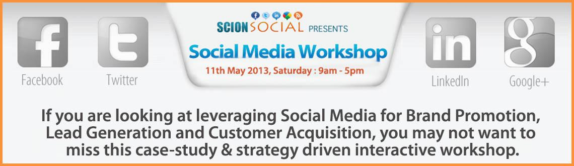 Book Online Tickets for Social Media Workshop 11th May 2013 Bang, Bengaluru. Learn Proven Social Media Marketing Strategies that will transform your business online.  If you are looking at leveraging Social Media for Brand Promotion, Lead Generation and Customer Acquisition, you may not want to miss this case-study & st