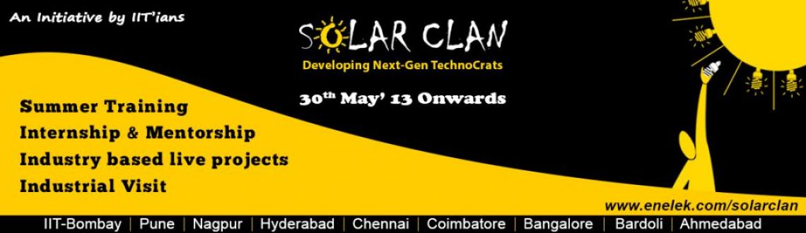 """Book Online Tickets for Solar Clan-Developing Next-Gen Technocra, Pune.  Solar Clan - Developing Next-Gen Technocrats  Training more than thousands of engineers in Solar Field , Enelek with zeal of """"Developing Next-Gen Solar TechnoCrats"""" has initiated """"Solar Clan"""" – Summer Tra"""