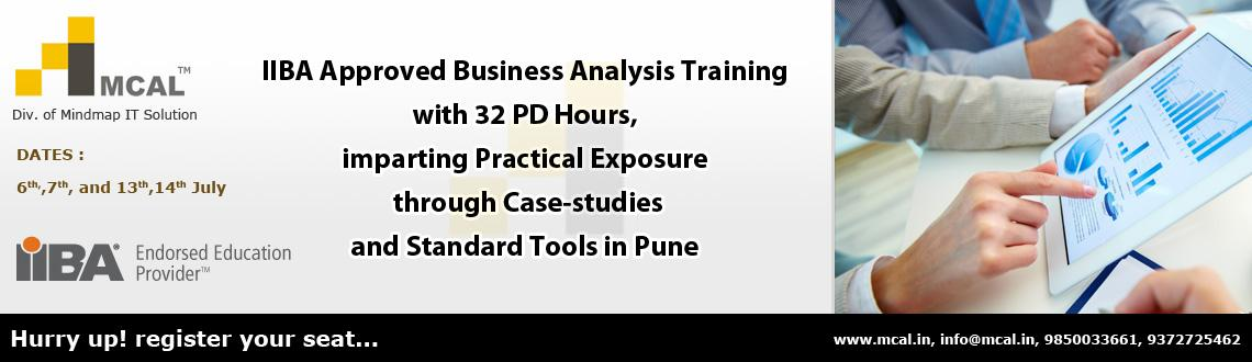 IIBA Approved Business Analysis Training with 32 PDUs, imparting Practical Exposure to BA Concepts and Standard Tools in Pune from 6th-14th July