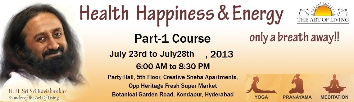 Book Online Tickets for The Art of Living Part-1 Course, Hyderabad. Live with Joy, Purpose and Confidence.