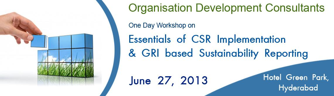One Day Workshop on Essentials of CSR Implementation & GRI based Sustainability Reporting