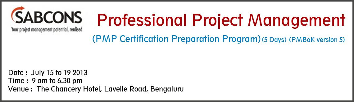 Book Online Tickets for Professional Project Management<br>(PMP , Bengaluru. Professional Project Management (PMP Certification Preparation Program) - PMBoK Version 5 - Bengaluru &nbsp; Objectives: &nbsp; * Boost confidence of PMP aspirants to take the PMP test. * To enhance the competence and effectiveness of participan