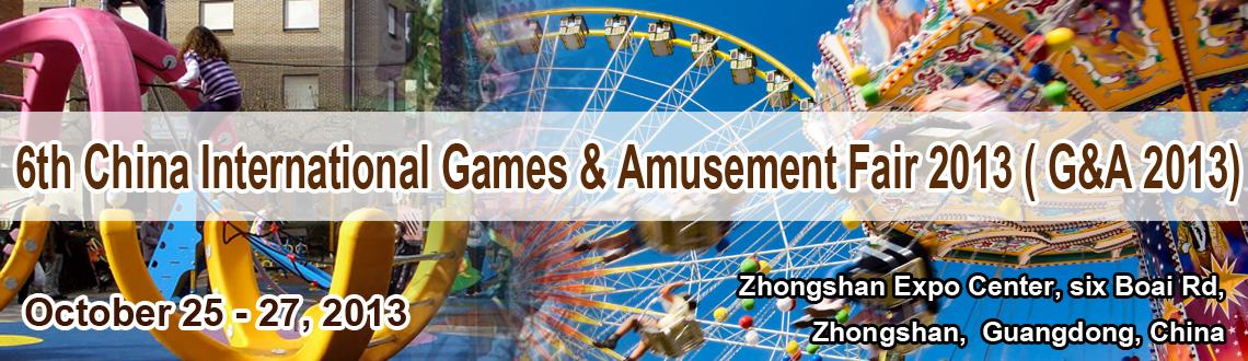 Book Online Tickets for 6th China International Games & Amusemen, . The reputable China International Games & Amusement Fair 2013 (supported by zhongshan Government) will be held at the Zhongshan Expo Center during October 25th ~ 27th. The famous enterprises such as Tecway ,wahlap,Nitto Fun ,Sealy,Universal-space