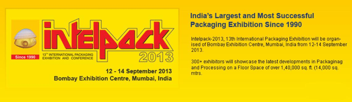 Intelpack-2013 and International Packaging Exhibition and Conference organized by Intel Trade Fairs in Mumbai, 12 - 14 September 2013 Bombay Exhibitio