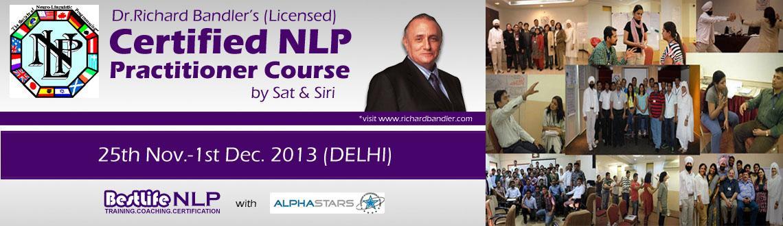 Book Online Tickets for Dr.Richard Bandler's 7 Days NLP Practiti, NewDelhi. Neuro Linguistic Programming (NLP)is becoming consciously aware of programs and patterns the way they naturally function in your Whole Brain-Neurology.Some of the useful Patterns lead you to success. Capturing these pieces, de-coding, mod