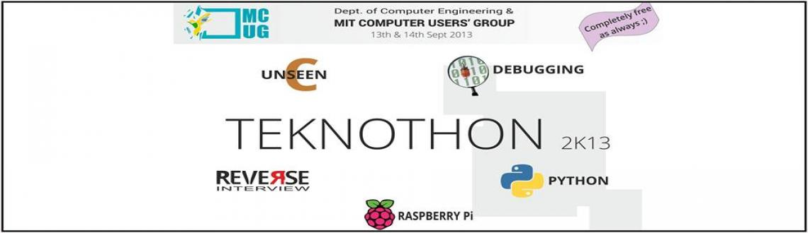 Book Online Tickets for Teknothon 2k13, Pune. This technical event is entirely free of cost and is organised with the aim of bridging the gap between the students and the industry via various means like workshops, seminars, informal and formal interaction sessions, competitions etc. All events a