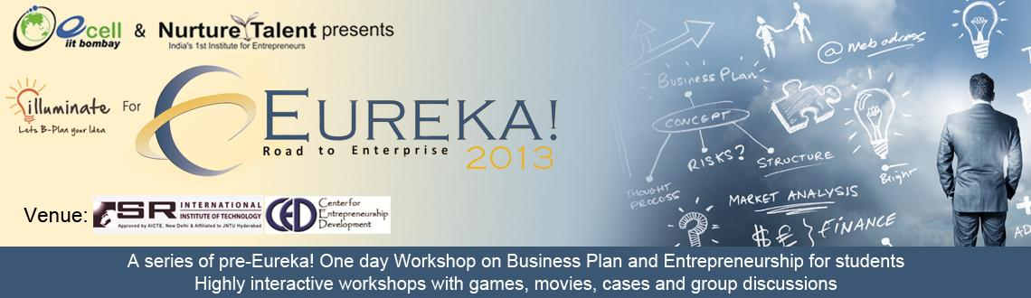 Book Online Tickets for Pre-Eureka workshop on Entrepreneurship, Hyderabad. Illuminate 2013 is a series of pre-Eureka! one-day Workshops on Entrepreneurship and business planningacross India, by Nurture Talent Academy, in collaboration with E-Cell, IIT Bombay. These workshops willprecede E-Cell, IIT Bomba