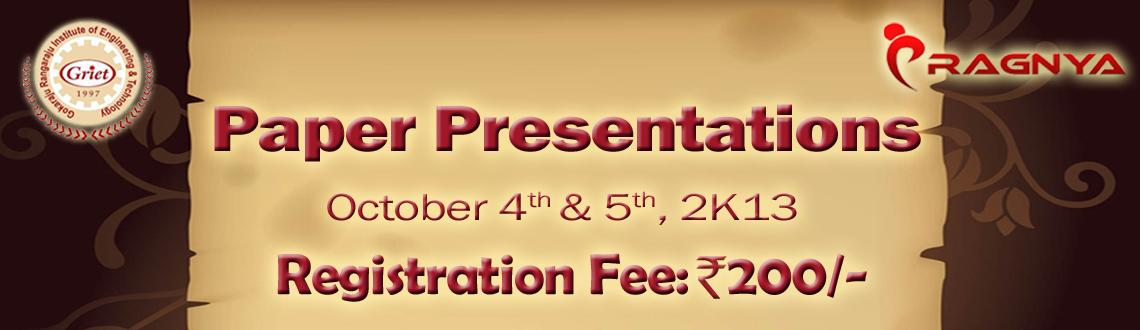 Book Online Tickets for Paper presentations at GRIET, Hyderabad. Paper Presentation: