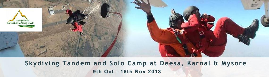 Skydiving Tandem and Solo Camp at Deesa, Karnal & Mysore