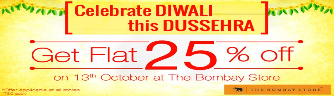 Book Online Tickets for Flat 25% off at 'The Bombay Store', Mumbai. With a number of festivities around the corner, Brands are trying to lure their customers with the best possible offers and discounts.   On this 'Dussehra' at 13th October, 'The Bombay Store' is just doing that. Keeping in min