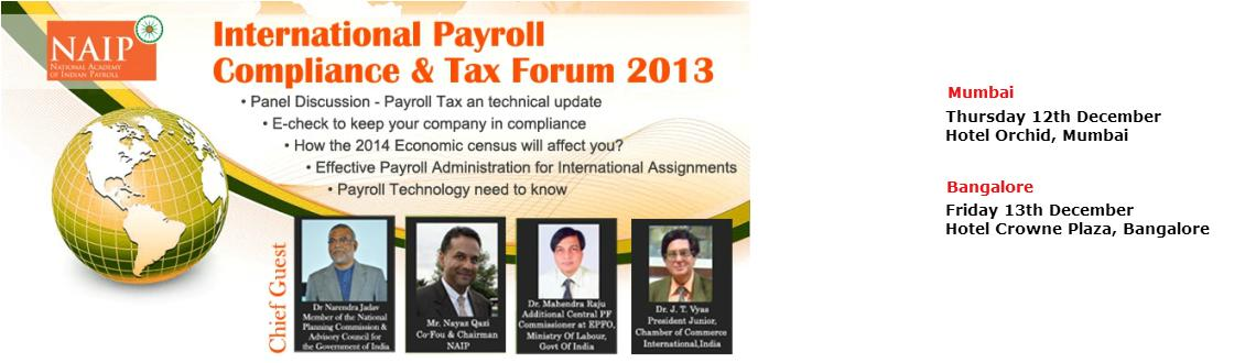 NAIP Presents International Payroll & Tax Forum, Bangalore