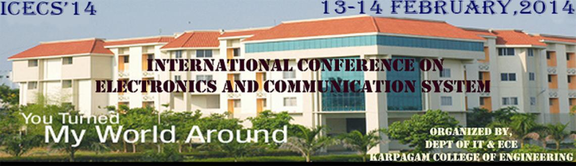 Book Online Tickets for ICECS 2014, Coimbatore. This Conference aims at bringing together the Researchers, Scientists, Engineers and Scholar students in all area of VLSI, Communication and Network security, and provides an international forum for the dissemination of original research results, new