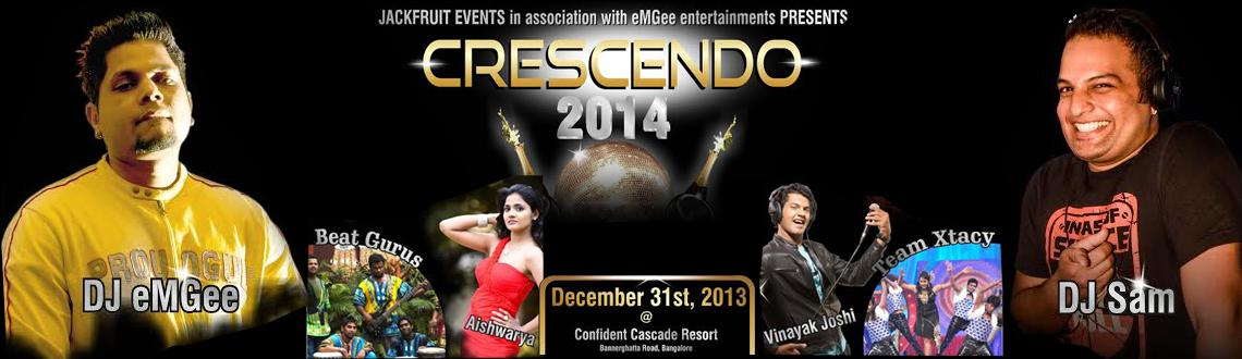 Book Online Tickets for Crescendo  2014, Bengaluru. Crescendo 2014 New Year Party in Bangalore is a mega New Year party organized at Confident Cascade by Jackfruit Entertainment in association with eM Gee Entertainments. The event would be an amazing merge of the International talents with home grown