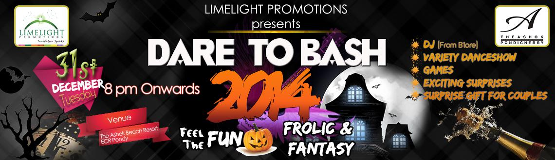 Book Online Tickets for DARE TO BASH 2014, Pondicherr. Head to the Hotel Ashok Beach Resort to be a part of the sensational New Year bash - DARE TO BASH New Year 2014 Party in Pondicherry for a fun and fantasy filled New Year's Eve. The event is based on the Halloween theme and has an enviable arti