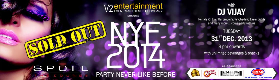 Book Online Tickets for NYE 2014 @ Spoil - The Lounge, Hyderabad. The partyholics in Hyderabad are in for a memorable retreat this New Year's Eve as the sensational New year Eve 2014 at Spoil in Hyderabad party is gearing up with an enviable line up of artists and breathtaking  ambience. 