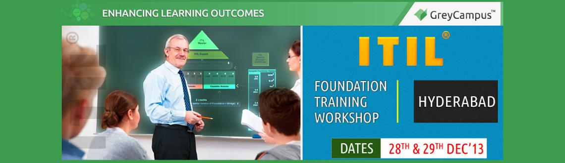 Book Online Tickets for ITIL Foundation Training Hyderabad, Hyderabad.   GreyCampus brings to you a highly interactive 2-day classroom training and certification program for the ITIL® Foundation.  100% Money Back Guarantee.  Why GreyCampus for ITIL® Foundation? • We are an APMG accr