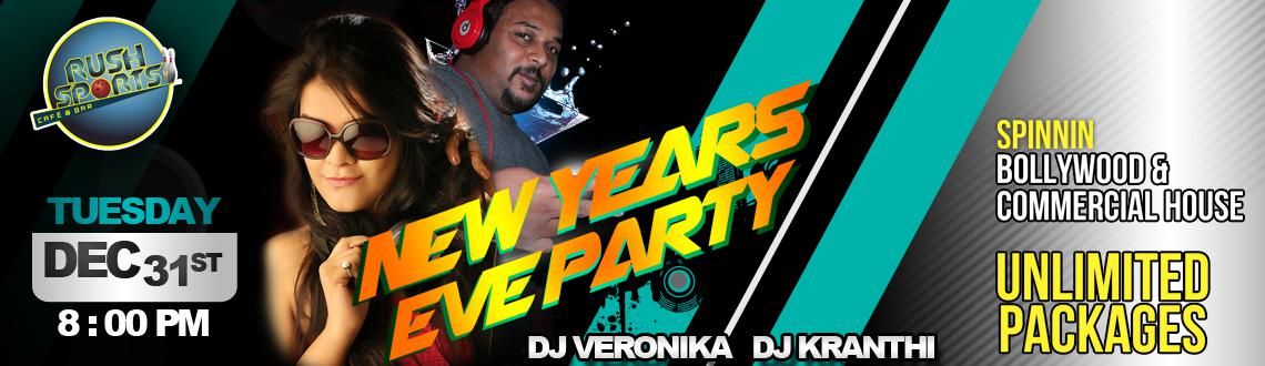 Book Online Tickets for New Year Party 2014 at Rush Sports Bar, Hyderabad. Celebrate the New Year's Eve with DJ Veronica and DJ Kranthi at the New Year Party 2014 at Rush Sports Bar. To keep the guests grooving all night long, the DJs would be spinning the best Bollywood and Commercial music all night long.
