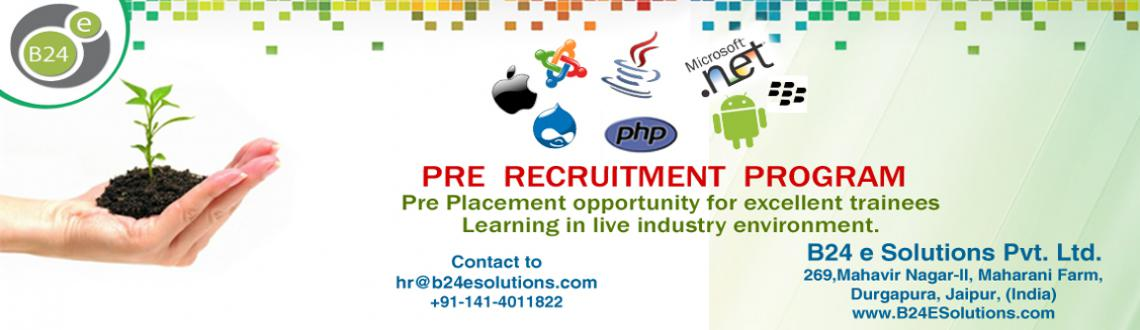 Book Online Tickets for PRE RECRUITMENT PROGRAM: Corporate Train, Jaipur. We at B24 will help you turn your years of study into tangible achievements through outstanding career opportunities like never before. Selected candidates will work for helping corporate companies to serve software development industry, helping you