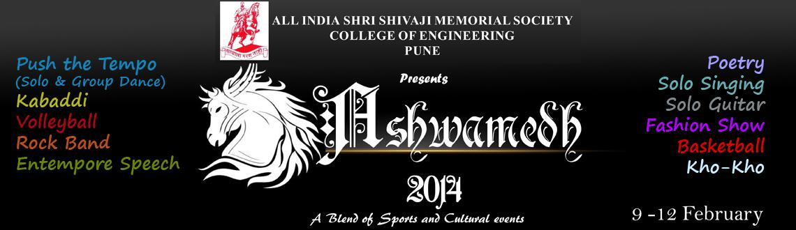 Book Online Tickets for  Ashwamedh 2014, Pune. AISSMS College of Engineering, Pune, are organizing a national level inter collegiate Sports and Cultural competition in Pune from the9th to the 12th of February, 2014, by the name of Ashwamedh 2014, which is in its successful fifth year. &nbs