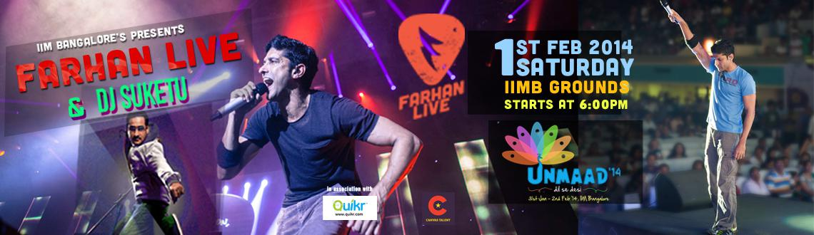 Book Online Tickets for IIM Bangalore presents Farhan Live and D, Bengaluru.  Actor, director, producer, screenwriter, lyricist, playback singer! One of the most versatile personalities in the country today, Farhan Akhtar is back on the Live music circuit arena. His band \\\'Farhan Live\\\' is one of India\\\'s
