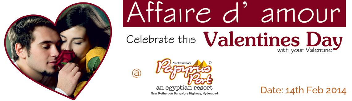 Book Online Tickets for Affaire d Amour - Valentines Day With Yo, Hyderabad. Valentine Dinner at 899  Romantic Candle light dinner Surprise Gift   Valentine Day Package at 1299  Welcome Drink , Breakfast , Lunch & HI-Tea Indoor & Outdoor games ATV Ride ( one Lap ) Surprise Gift   Valentine Ro