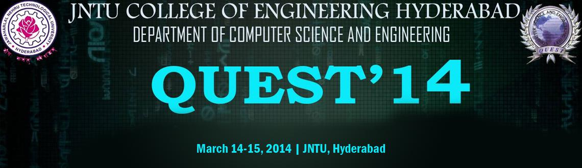 Book Online Tickets for QUEST 2K14, Hyderabad. The most awaited technical symposium,Quest\\'14,organised by the Department of Computer Science and Engineering is back,this year bigger and better.