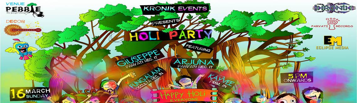 Book Online Tickets for HOLI PARTY, Bengaluru. For d first time in bangalore, Kronik events brings u holi party ft. masters of parvati rec at PEBBLE. Lets add some colours to life !!! Line up:  Giuseppe / Parvati rec.it Arjuna / Parvati rec. it Fungalam / Occulta rec. KayVee/ Post Modern Mu
