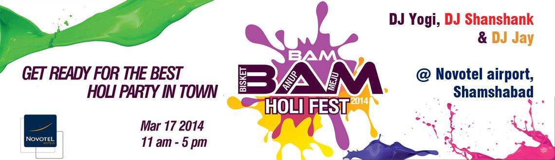 Book Online Tickets for Bam Bam Holi Fest 2014, Hyderabad. Bright, bold and boisterous, Bisket's Parties and celebrations always leave their mark. The BAM BAM HOLI FEST @ Novotel Airport Hyderabad is one such spectacular Holi bash coming from the kitty of the premier king of Hyderabad himself.