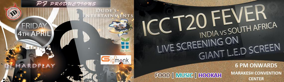 Book Online Tickets for ICC World T20 2k14 - IND vs SA Semi Fina, Hyderabad. Looking To Have Perfect FunThis Friday!! Experience ICC World T20 2k14 Semi Final Live!!! India Vs South Africa!!! Game On an LED Screen!!! Any IMFL Rs. 100 /-  Special Effects: DJ Live band &n