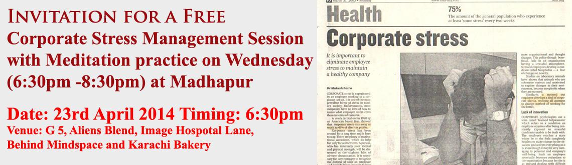 Invitation for a Free Corporate Stress Management Session with Meditation practice
