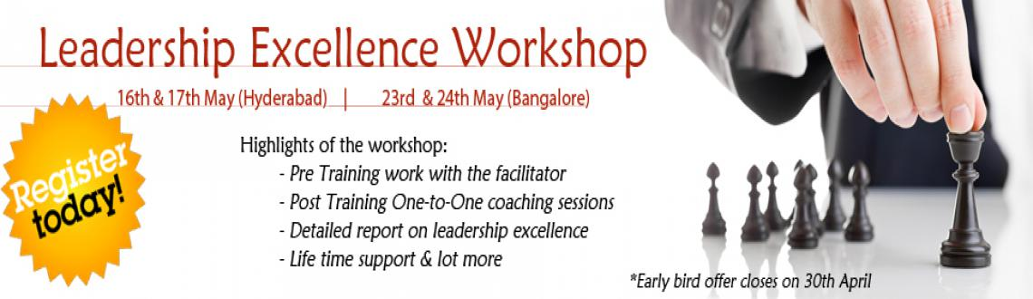 Book Online Tickets for Leadership Excellence Workshop, Hyderabad. Leadership Excellence WorkshopExcellence In Leadership requires individuals to examine and understand the psychology of Leadership and the impact it has on you and your ability to influence, communicate, persuade people around. This workshop enables